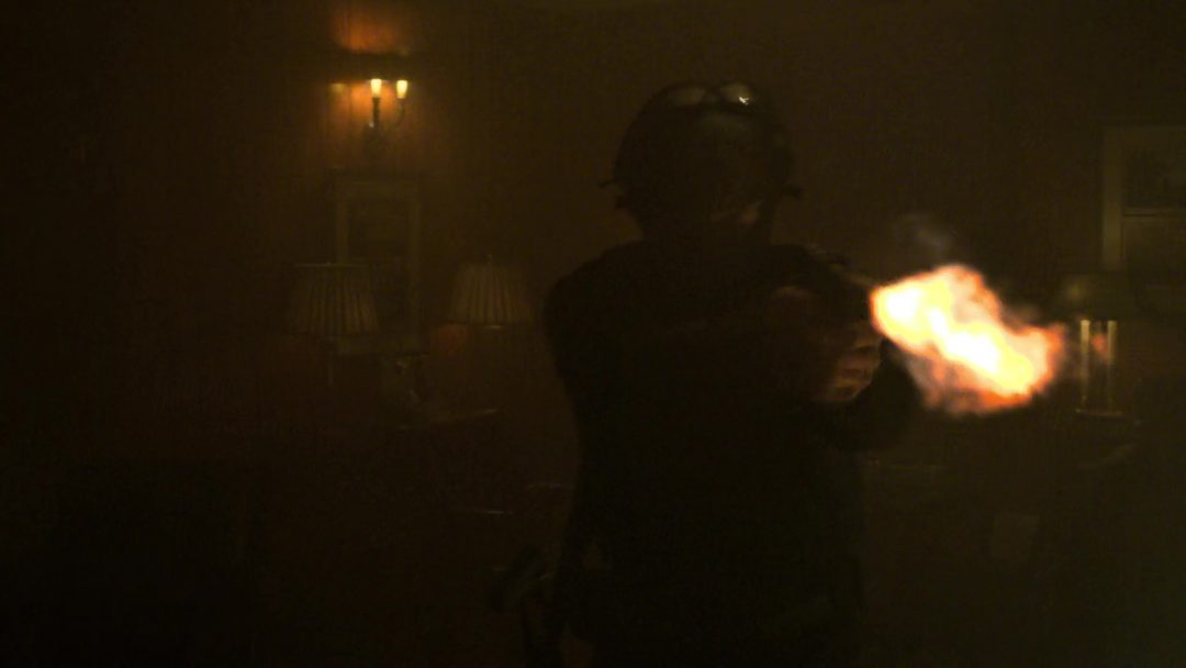 (18) Russo fires, hitting Frank's vest. Frank takes him down anyway