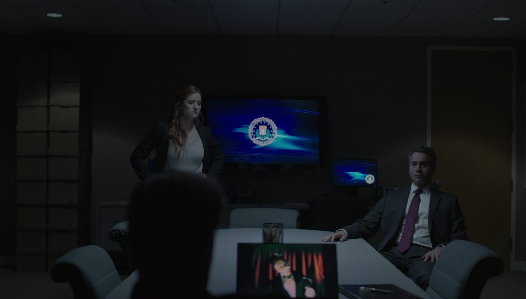 9 - Dom, Santiago , and Tyrell's lawyer watch the new fsociety video at the FBI building