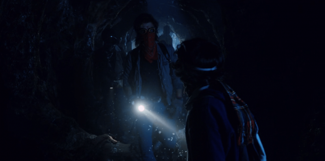 The gang enters the tunnels