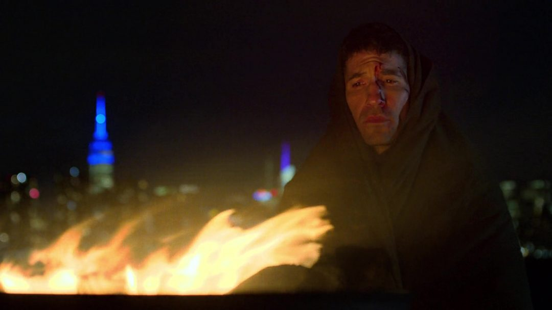 (1) The Punisher contemplates Billy Russo's betrayal. He's still bloody and injured from the last episode