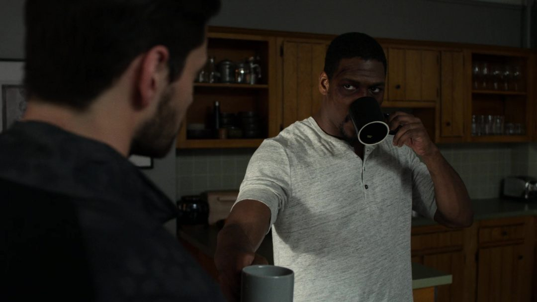 (14) Curtis offers Russo a cup of coffee right after Russo threatened to torture him