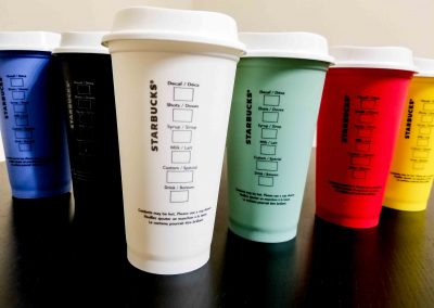 2. Starbucks reusable cup lineup - back