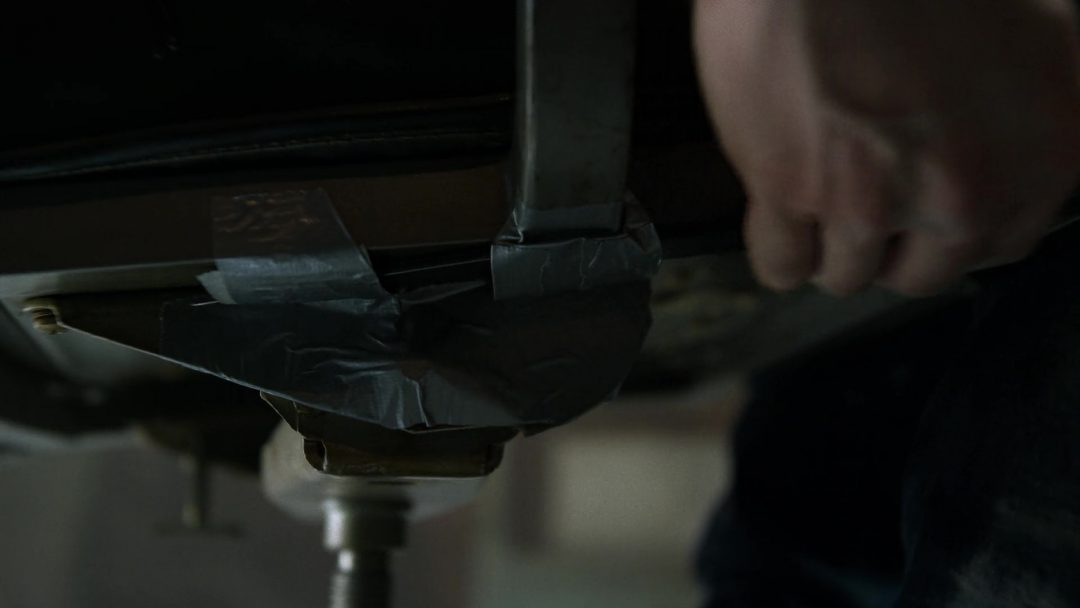 (24) He also has a knife duct-taped to the chair