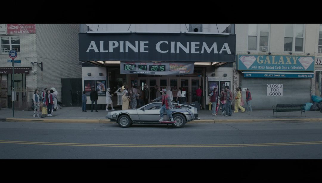 31 - Elliot and Mohammed at the Alpine Cinema on 'Back to the Future Day'