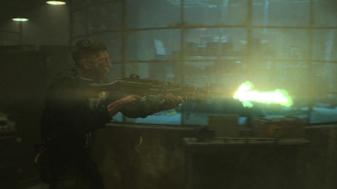 (35) The Punisher uses a light machine gun