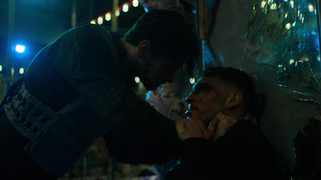 (40) Russo stabs Frank in the shoulder, and prepares to kill him