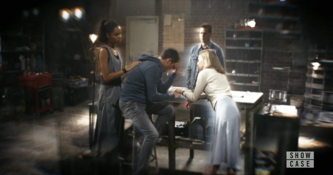 49 - Grant is comforted by the Team in an alternate timeline