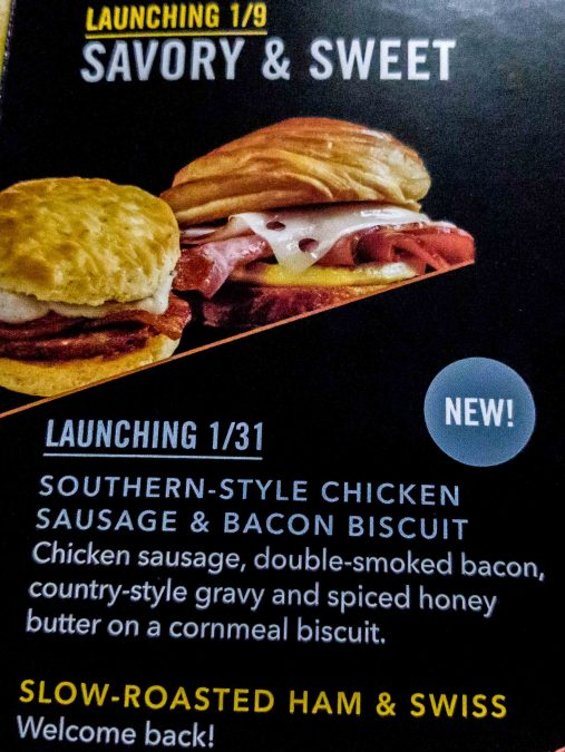 10 - Starbucks Southern style Chicken Sausage and Bacon biscuit arrives, plus the Slow-roasted Ham and Swiss returns